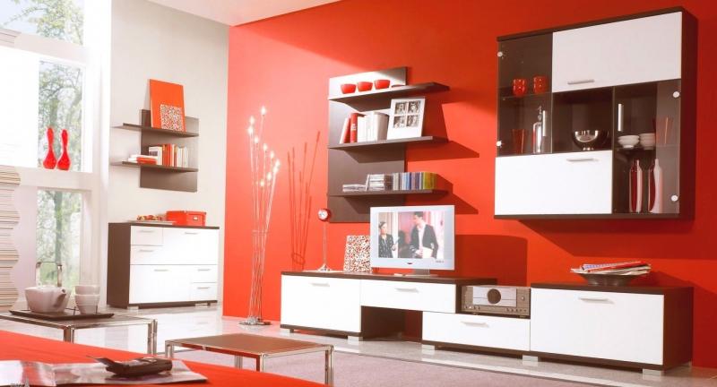 Гостиная Романтика в стиле модерн двухцветная с закрытыми шкафчиками и выдвижными ящиками