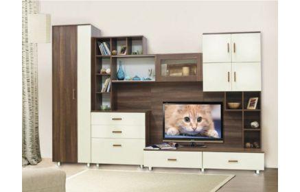 Купить Гостиная Сарма в стиле модерн с открытыми полками и нишей для телевизора  под заказ