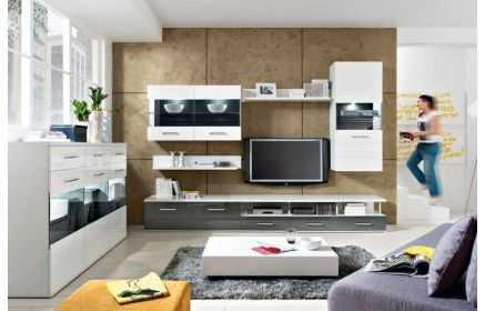 Купить Гостиная Шамони в стиле модерн белого цвета из  трех отдельных модулей  под заказ
