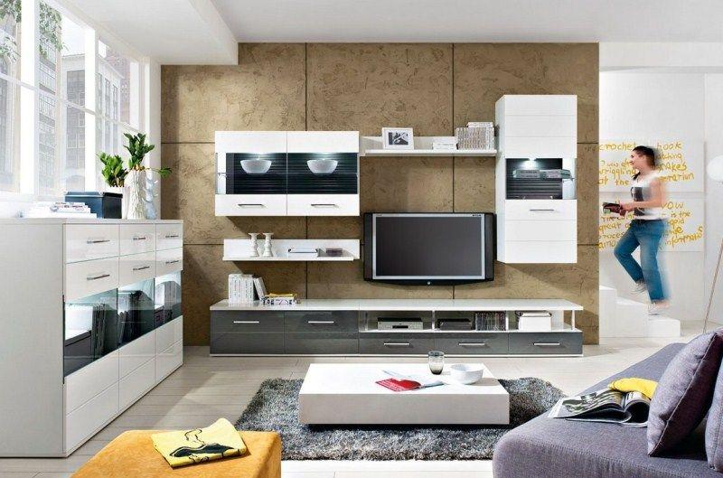 Гостиная Шамони в стиле модерн белого цвета из  трех отдельных модулей