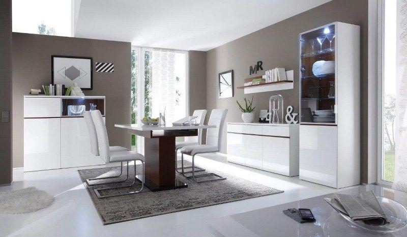 Гостиная Шантони стильная белого цвета на 4 предмета с шкафчиками и подвесной полкой