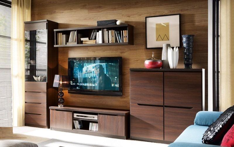 Гостиная Сюрен современная в темно-коричневом цвете с местом для телевизора из нескольких отдельных секций