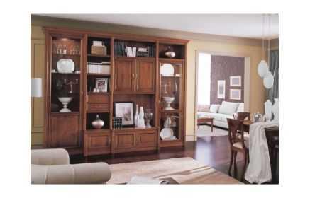 Купить Гостиная Юлали в классическом стиле с множеством полок и шкафчиков с выдвижными ящиками   под заказ
