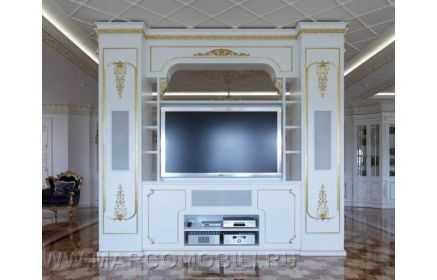 Купить Гостиная Яблоневый цвет в классическом стиле белого цвета с золотым обрамлением  под заказ