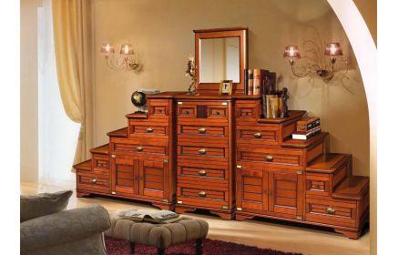 Купить Гостиная Альдо пирамидо-образная коричневого цвета с выдвижными ящиками и зеркалом на верху  под заказ