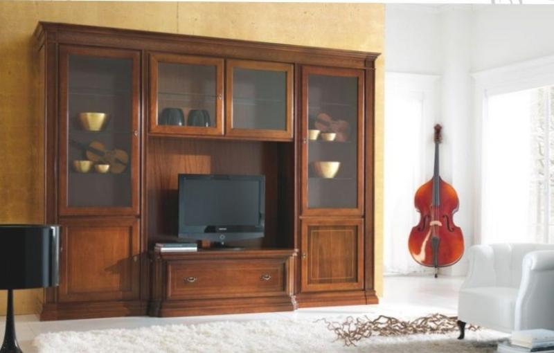 Гостиная Алехандро классического стиля из массива качественного дуба с матовым стеклом в верхних фасадах