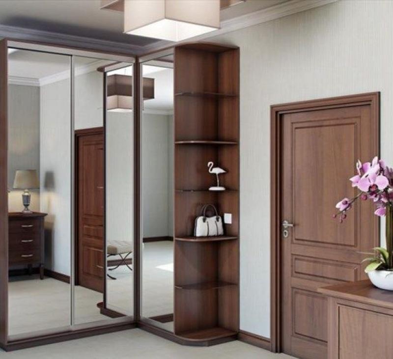 Прихожая Галлахер угловая с большими зеркалами на дверках шкафа