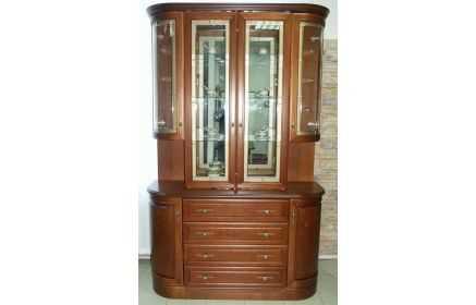 Купить Сервант Бальзамин округлый с зеркалом и стеклом с полками ящиками и дверьми желто-коричневое дерево под заказ