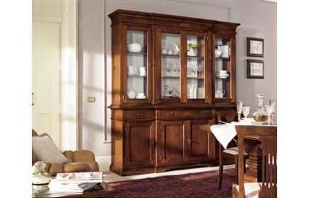 Купить Сервант Элви со стеклом полками ящиками и дверями желто-коричневый цвет под заказ