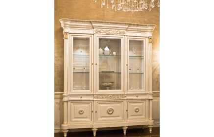 Купить Сервант Хрусталь с узорами со стеклом полками ящиками и дверьми белый цвет под заказ