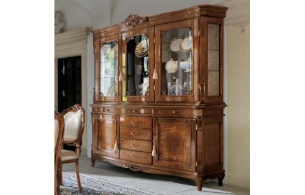 Купить Сервант Импульс со стеклом полками ящиками дверьми с узором красновато-коричневая с зеленым оттенком древесина под заказ