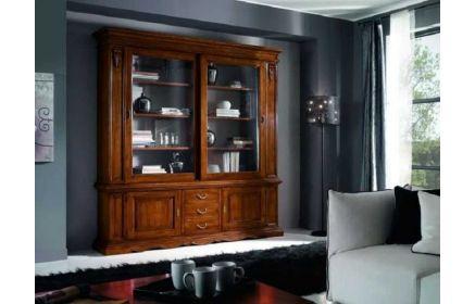 Купить Сервант Либретто со стеклом полками ящиками и дверьми желто-коричневое дерево под заказ