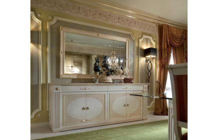 Купить Сервант Орион с зеркалом и узорами комод с ящиками и дверьми бело-бежевый цвет с золотыми вставками под заказ