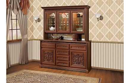 Купить Сервант Тоскана с узорами дверьми ящиками полками и со стеклом и зеркалом коричневое дерево под заказ