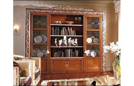 Купить Шкаф-витрина Адажио со стеклом и узорами 2 двери со стеклом 2 двери из дерева 10 полок оранжево-коричневое дерево под заказ