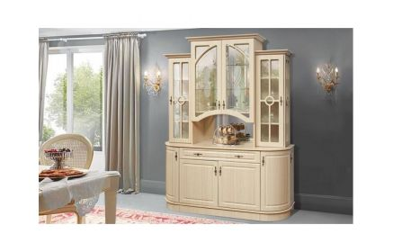 Купить Шкаф-витрина Эсмеральда со стеклом 1 ящик 4 двери дерево и 4 двери со стеклом 2 стеклянные полки и 7 деревяных полок светло-персиковое дерево под заказ