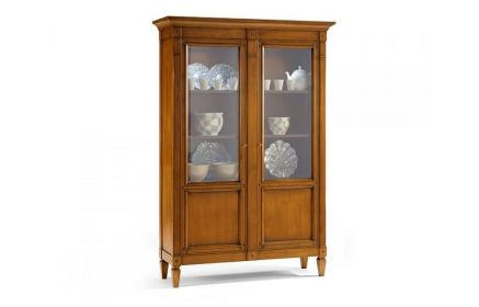 Купить Шкаф-витрина Гохрана 2 двери со стеклом 4 полки желтовато-розовое дерево под заказ