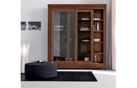 Купить Шкаф-витрина Катарантус 2 двери со стеклом 4 полки светло-коричневое дерево под заказ