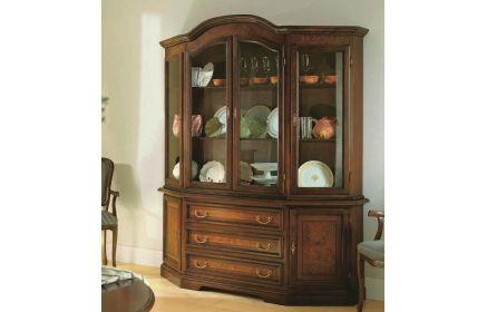 Купить Шкаф-витрина Маркиза  4 двери со стеклом 2 двери из дерева 3 ящика 6 полок желто-коричневое дерево под заказ