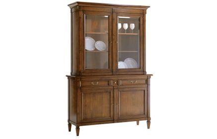 Купить Шкаф-витрина Пируэт 2 двери со стеклом 2 полки 2 ящика 2 двери из дерева желто-коричневое дерево под заказ