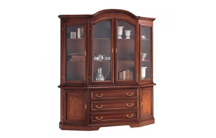 Купить Шкаф-витрина Риманта 4 двери со стеклом 2 двери из дерева 3 ящика 6 полок красно-коричневое дерево под заказ