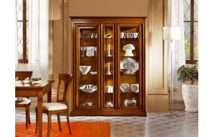 Купить Шкаф-витрина Соренто со стеклом 2 двери со стеклом  12 стекляных полки желто-красное дерево под заказ