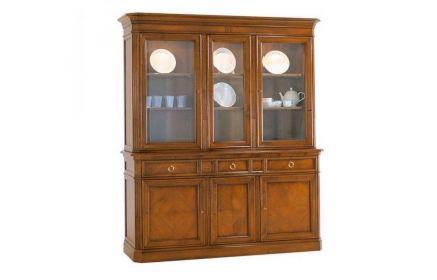 Купить Шкаф-витрина Соверино 3 двери со стеклом 6 полок 3 ящика 3 двери желто-коричневое дерево под заказ