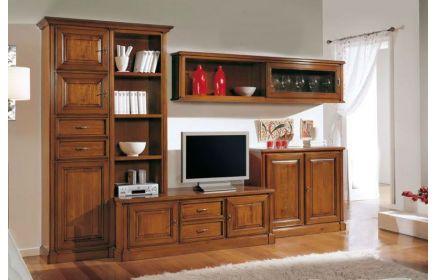 Купить Стенка Адонис комод под ТВ 1 шкаф со стеклом ящиками и полками 1 подвесной шкаф со стеклом и 1 шкаф с 2 дверьми желто-коричневое дерево под заказ