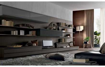 Купить Стенка Брантом 5 напольных модуля 3 подвесных модуля 6 подвесных полок серый и серо-коричневый цвет под заказ
