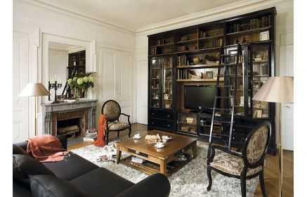 Купить Стенка Бриансон с подставкой под ТВ со стеклянными дверьми с полками и ящиками черный цвет под заказ
