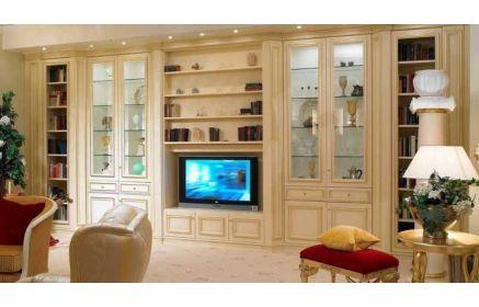 Купить Стенка Элькар под ТВ с подсветкой 17 открытых полок 11 ящиков 4 двери со стеклом кремовый цвет под заказ