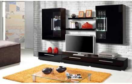 Купить Стенка Гематит 1 модуль под ТВ 2 подвесных шкафа со стеклом 2 подвесные полки черный и темно-коричневый цвет под заказ