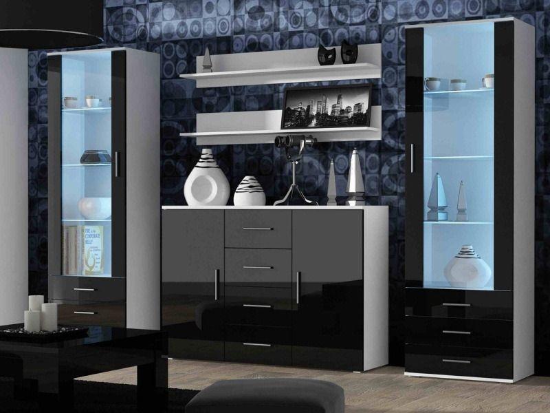 Стенка Кавайлон 1 комод 2 шкафа со стеклом и подсветкой 2 подвесные полки черно-белый цвет