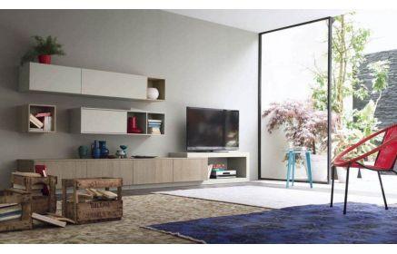 Купить Стенка Клиренс комод под ТВ 1 напольный модуль 3 подвесных модуля с полками белый цвет и светлое дерево под заказ