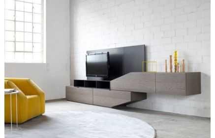 Купить Стенка Креон с подставкой под ТВ двухмодульная черный и коричнево-серый цвет под заказ