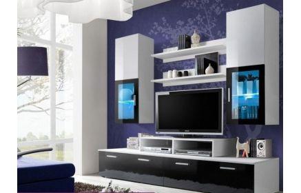 Купить Стенка Мартинес подставка под ТВ 2 напольных модуля с крашеным стеклом 2 подвесных шкафа со стеклом и подсветкой 2 подвесные открытые полки белый и черный цвет под заказ