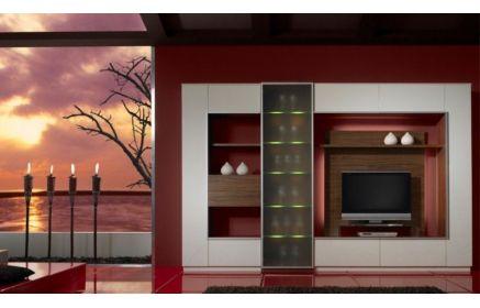 Купить Стенка Мистика под ТВ 4 открытые полки 1 шкаф со стеклом и 6 закрытых полок белый и коричневый цвет под заказ