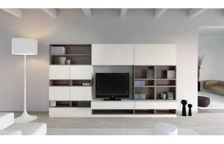 Купить Стенка Пион под ТВ 7 закрытых модулей 15 открытых полок белый цвет серое дерево под заказ