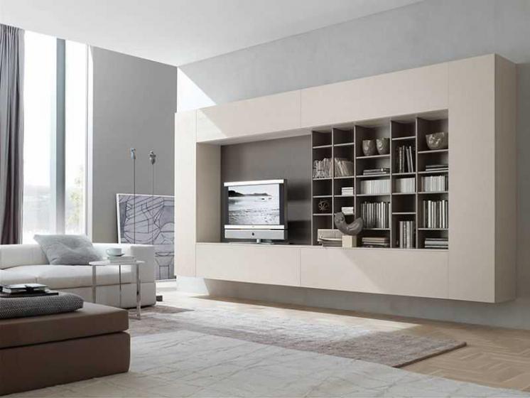 Купить Стенка Тойфи подвесная под ТВ 15 открытых полок разной высоты и ширины белый цвет под заказ