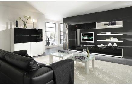Купить Стенка Визуализация под ТВ 2 напольных модуля 1 подвесной модуль 1 шкаф 3 подвесные полки черный и белый цвет под заказ