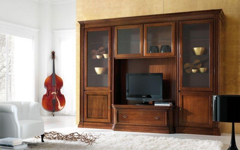 Стенка Константа комод под ТВ 4 двери со стеклом 2 двери из дерева 1 ящик коричневое дерево