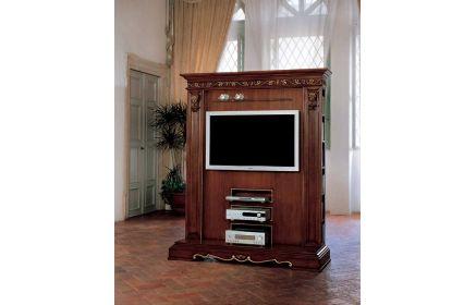 Купить Тумба под ТВ Каладиум стенка с местом под технику и стеклянной полкой красно-коричневое дерево с узорами под заказ