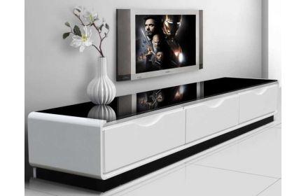 Купить Тумба под ТВ Стерео со стеклянной крашеной поверхностью черный и белый цвет под заказ