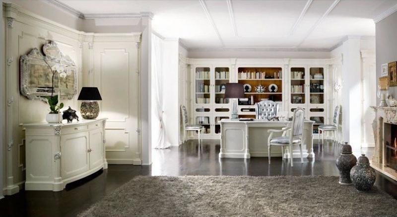 Кабинет Альтера в роскошном белом стиле со встроенным книжным шкафом