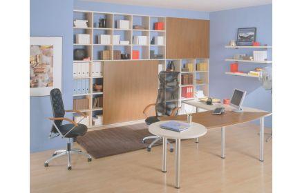 Купить Кабинет Аурели в современном офисном стиле со встроенным шкафом с открытыми полками  под заказ