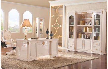 Купить Кабинет Флюра в классическом стиле белого цвета с шикарным столом и большим открытым шкафом  под заказ