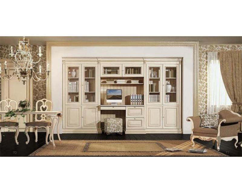 Кабинет Идиллия в белом цвете со встроенным шкафом и мебелью с причудливыми завитками