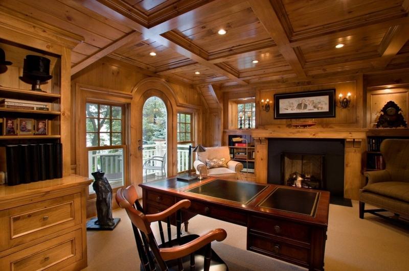 Кабинет Реалист из массива дерева в коричневом цвете со столом с выдвижными ящиками