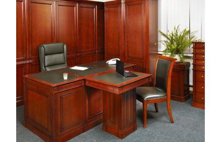 Купить Кабинет Рубин в сдержанном классическом стиле с большим столом и приставкой для посетителей к нему  под заказ