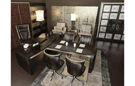 Купить Кабинет Структура в черном цвете современного стиля с большим столом  под заказ